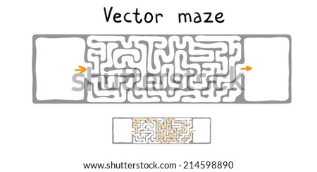 Black vector maze, labyrinth illustration - stock vector