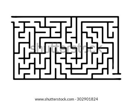Black vector maze, labyrinth illustration - stock vector