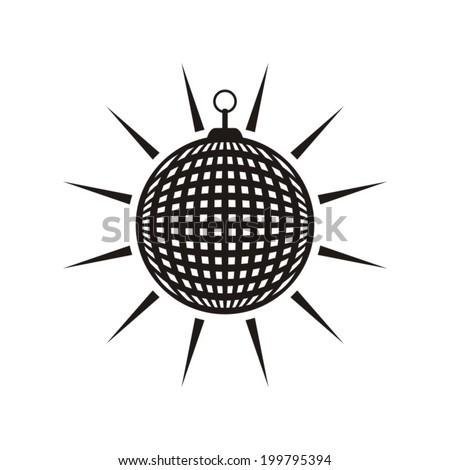 Black vector mirror disco ball icon isolated - stock vector