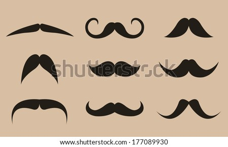 Black vector mustache collection in light brown background.