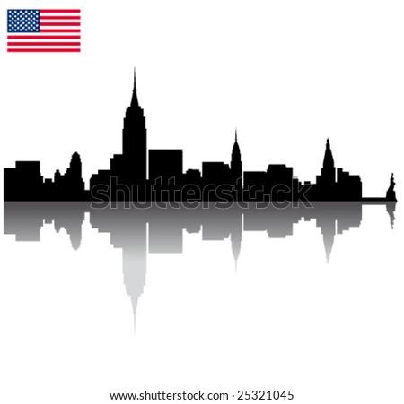 Black vector New York silhouette skyline with USA flag - stock vector