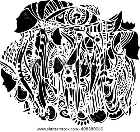 black vector of imagination mask in line art