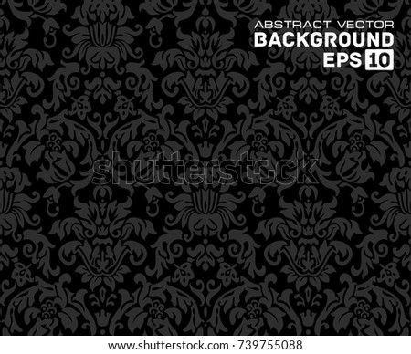 Black Vector organic seamless abstract background, botanical motif, freehand doodles pattern