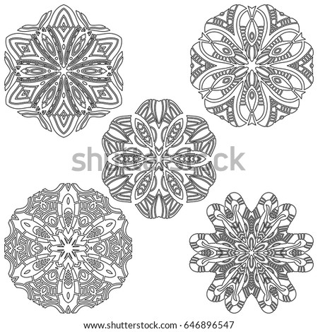 Black vector ornament collection over white background