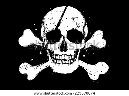 Black vector pirate flag with white grunge style human skull and crossbones - stock vector