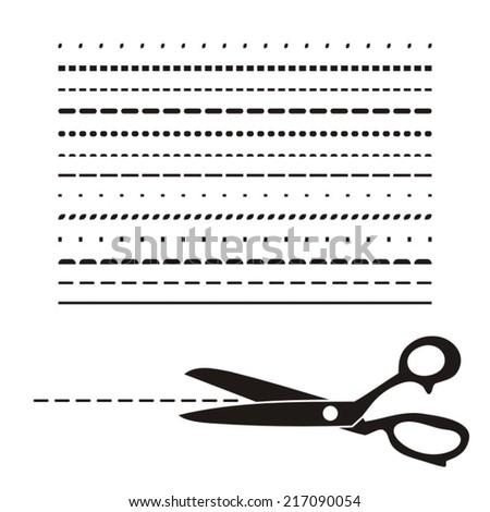 Black vector retro scissors icon with various lines - stock vector