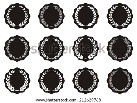 Black vector round labels with laurel wreaths collection - stock vector