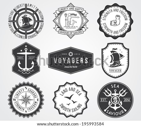 Black vector sea badges for any use - stock vector