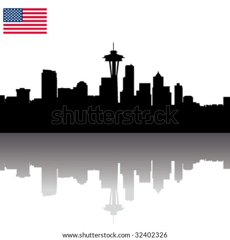 Seattle Skyline Outline Drawing Black Vector Seattle