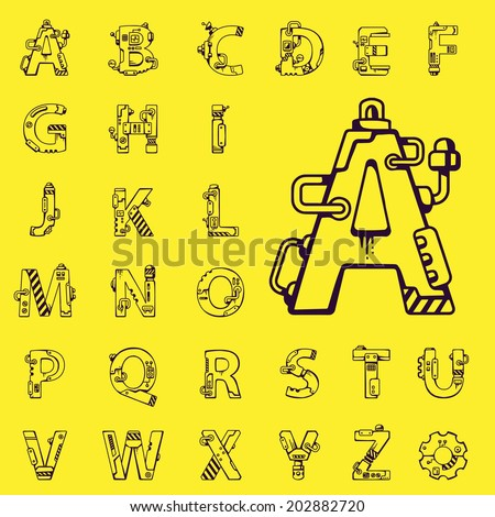 black vector set of letters of the English alphabet mechanical robot style on yellow background - stock vector