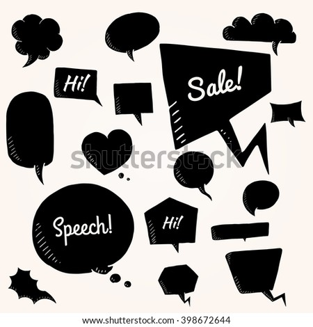 Black vector set of talk and think bubbles, group of doodle speech bubles