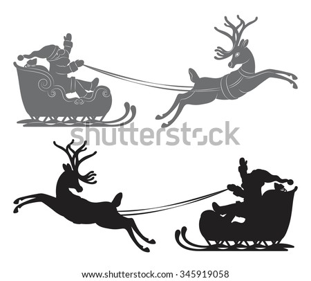 Black vector silhouette, Flying Santa Claus in a reindeer sleigh - stock vector