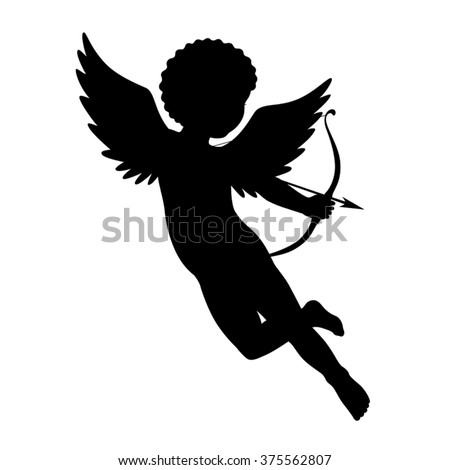 Black vector silhouette of a cupid shooting arrow. Isolated on white.