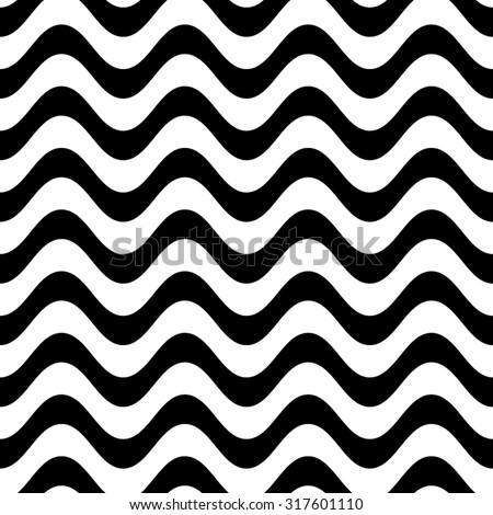 Black vector simple seamless wavy line pattern - stock vector
