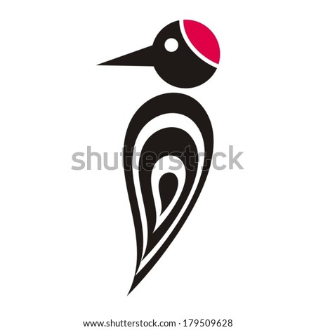 Black vector stylized woodpecker icon with red cap - stock vector