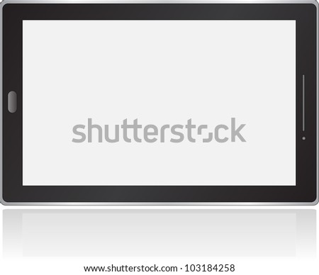 Black vector tablet pc with white screen - stock vector