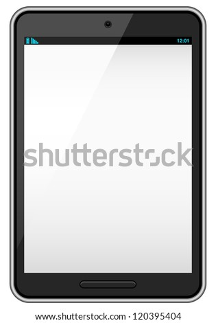 Black Vector Tablet - Realistic vector tablet with blank screen isolated on white background.