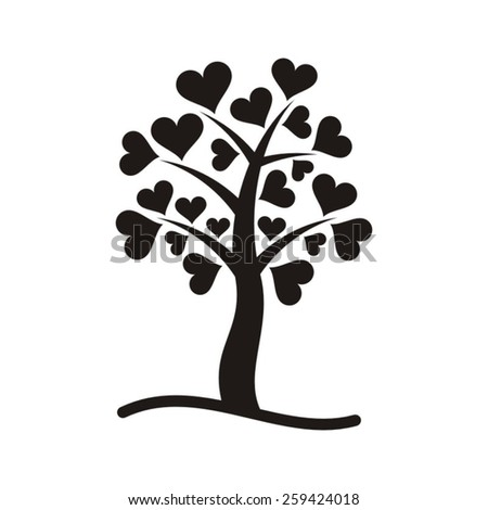 Black vector tree with heart leaves on white - stock vector