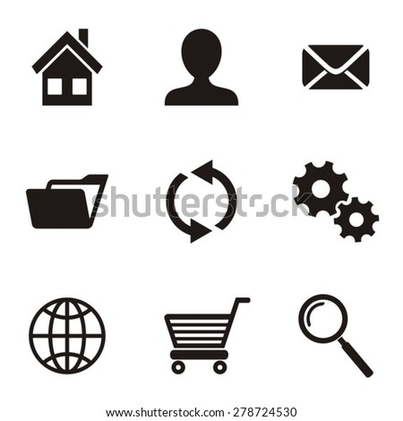 Black vector website menu icons on white background