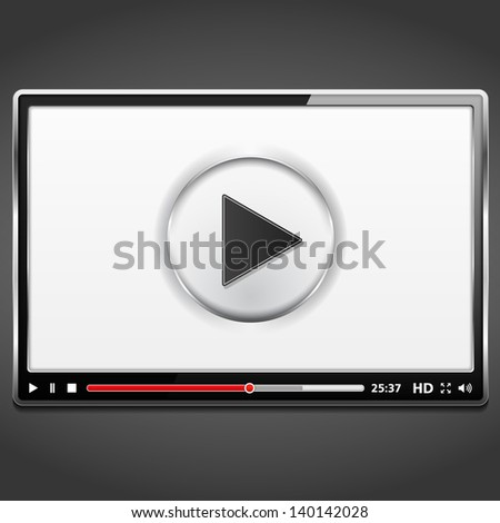 black video player template with metallic frame vector eps10 illustration