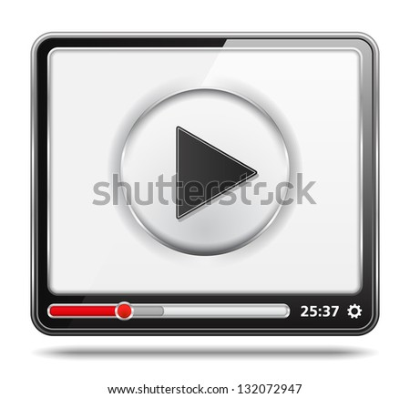 Black video player with white screen, video player icon, vector eps10 illustration