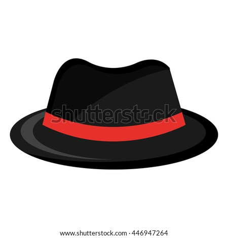 black vintage hat with red  loop front view over isolated background, fashion concept, vector illustration  - stock vector