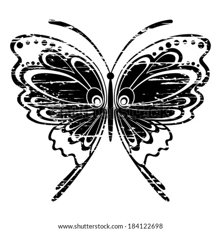 Black vintage isolated butterfly for your design - stock vector