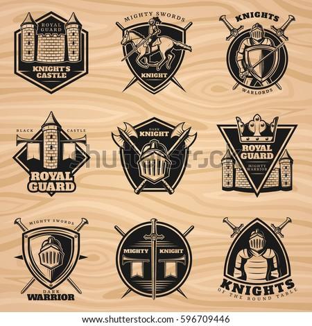 Black Vintage Knights Emblems Set Medieval Stock Vector 596709446