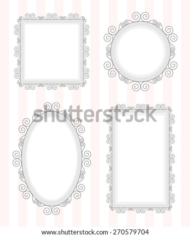 Black vintage old mirror frame set, circle, ellipse, square and rectangle. Collection of baroque antique style design border, vector art image illustration, isolated on stripped pink white background - stock vector