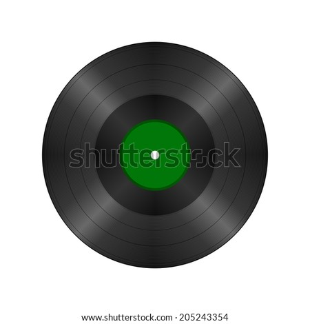 Black vintage vinyl record, vector illustration
