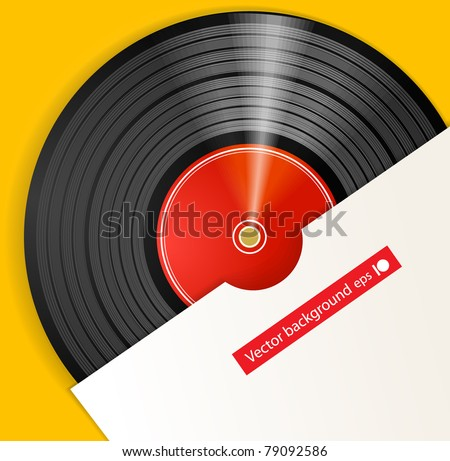 Black vinyl disc with cover - stock vector