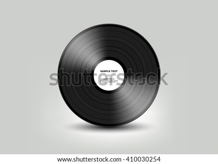 Black vinyl record isolated on white background, Vector - stock vector