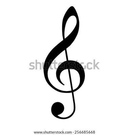black violin clef isolated on white background; music VECTOR - stock vector