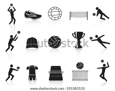 black volleyball icons set - stock vector
