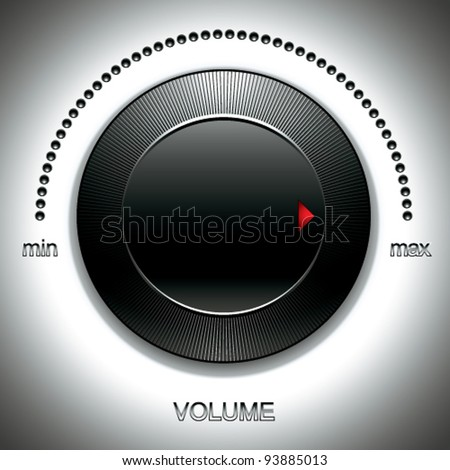Black volume knob with calibration vector illustration. - stock vector