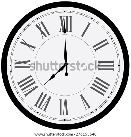 Black wall clock vector isolated. Clock on wall shows eight o'clock. Roman numeral clock - stock vector