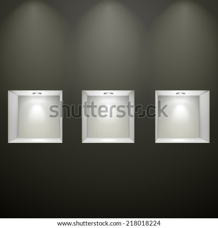 black wall with empty niches for exhibition  - stock vector