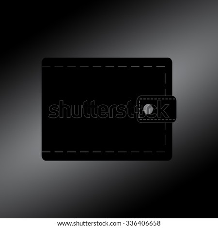Black Wallet icon with money
