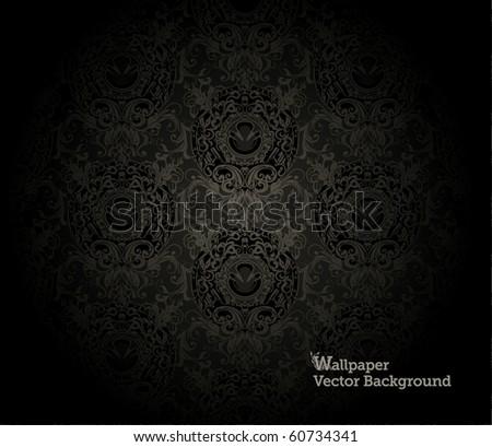 Black Wallpaper Pattern - stock vector