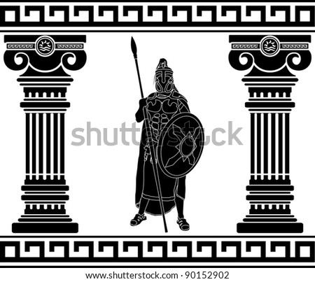 black warrior with with columns. first variant - stock vector