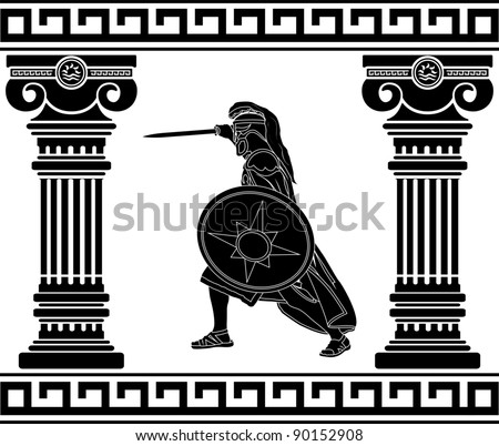 black warrior with with columns. third variant - stock vector