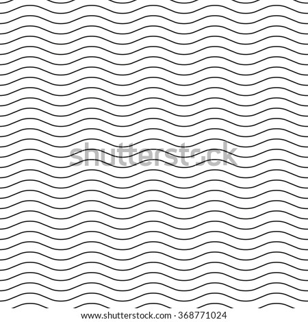 Black wavy lines on a white background. Seamless pattern, vector illustration