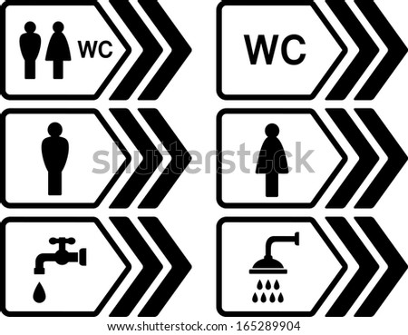 black WC pointer with arrow and people silhouettes - stock vector