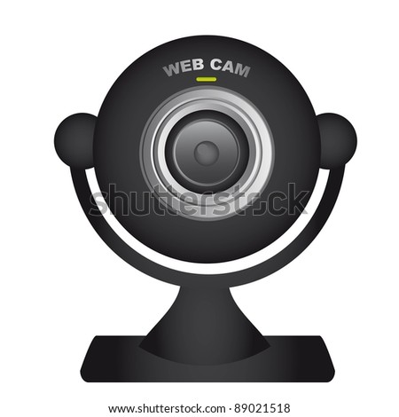 black web cam over white background. vector