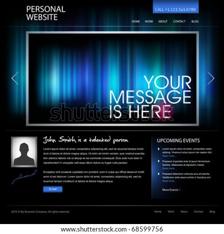 black web design template vector - compatible with 960px width layout - great as personal website for artist, photographer, designer, or as modern company website - stock vector