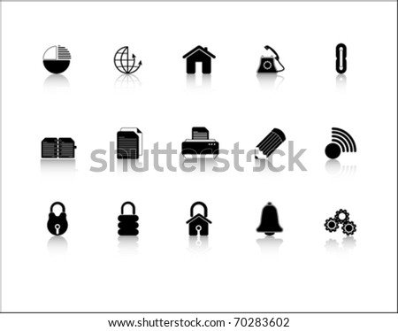black Web Site & Internet icon set - stock vector