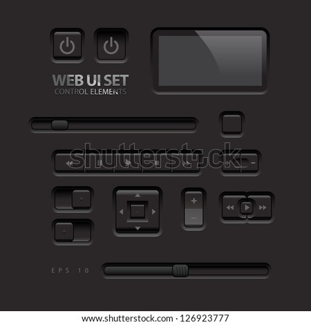 Black Web UI Elements. Buttons, Switches, bars, power buttons, sliders. Vector illustration