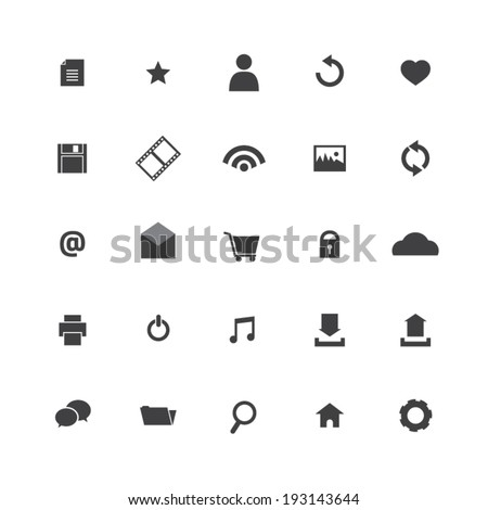 Black Website Vector Icons Set  - stock vector