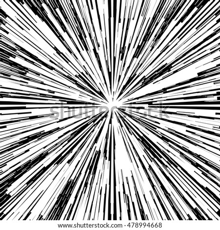 Black white abstract design background, backdrop. Flash burst. Black hole. Universe explosion. Cover, banner, poster, badge,coupon template.Vector illustration for web.