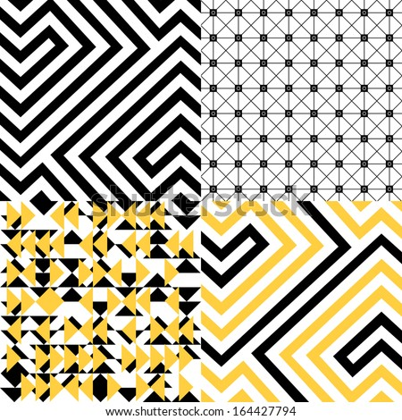 Black, white and yellow geometric patterns set - stock vector